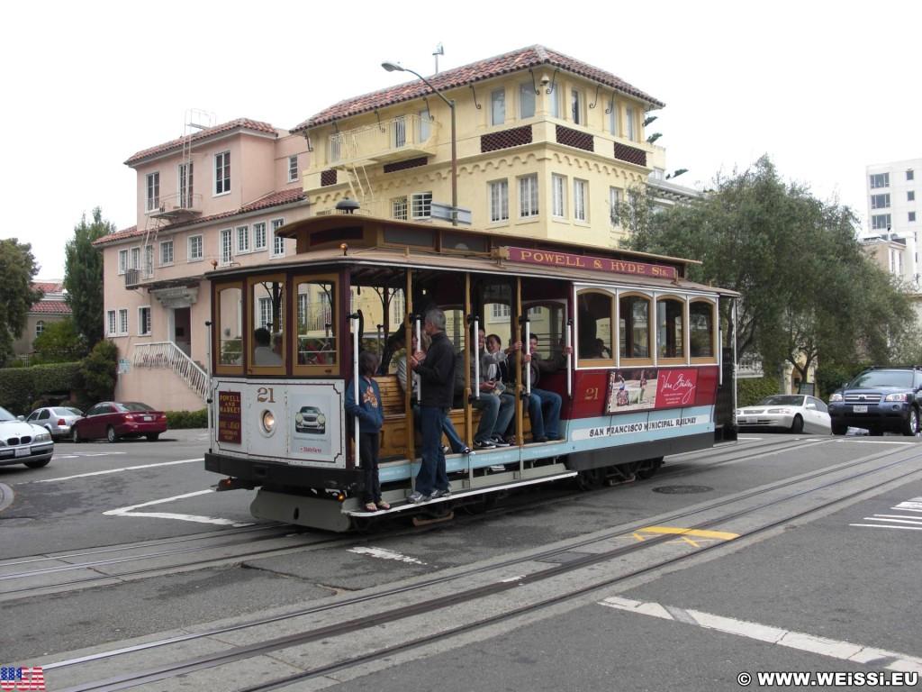 San Francisco. - Westküste, Cable Car, Cablecar, San Francisco - (Russian Hill, San Francisco, California, Vereinigte Staaten)