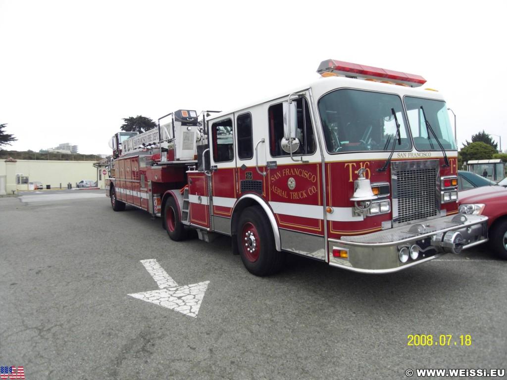 San Francisco. - Westküste, Feuerwehr, Feuerwehrauto, Löschfahrzeug, San Francisco - (Fort Mason, San Francisco, California, Vereinigte Staaten)