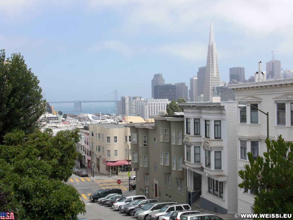 San Francisco. - Westküste, Transamerica Pyramid, Brücke, Skyline, Oakland Bay Bridge, Wolkenkratzer, San Francisco - (Little Italy, San Francisco, California, Vereinigte Staaten)