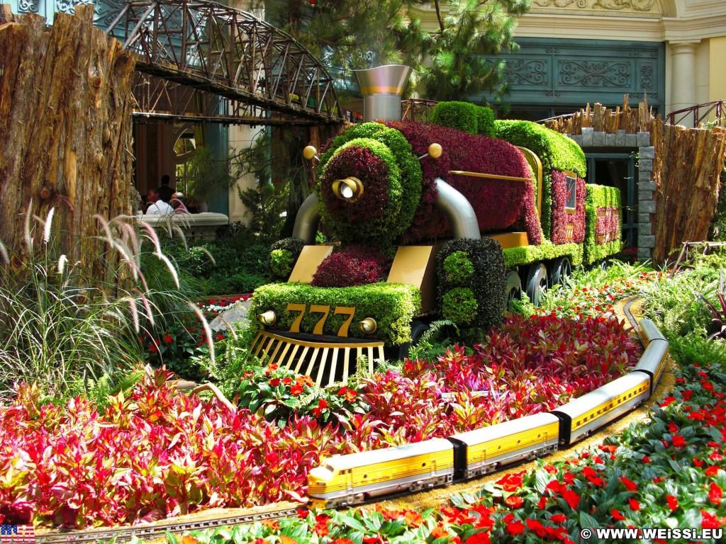 Las Vegas. - Bäume, Las Vegas, Hotel Bellagio, Winter Garden, Natur, Wintergarten, Botanischer Garten, Pflanzen, Blumen, Zug, Eisenbahn, Lok - (Bracken, Las Vegas, Nevada, Vereinigte Staaten)