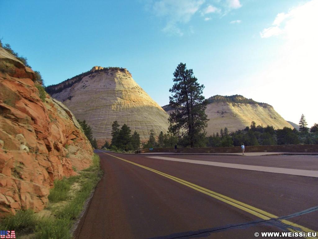 Zion National Park. Checkerboard Mesa - Zion National Park. - Strasse, Landschaft, Berg, Sandstein, Zion National Park, Checkerboard Mesa, Tafelberg - (Zion Lodge, Mount Carmel, Utah, Vereinigte Staaten)