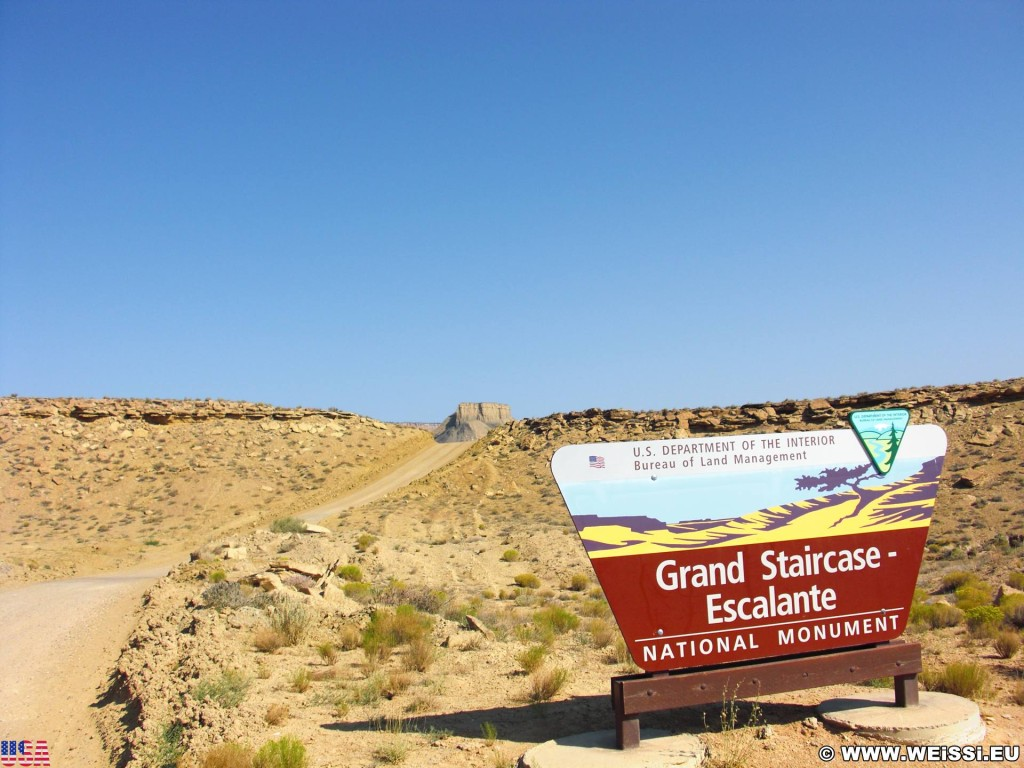 Cottonwood Canyon Road. - Strasse, Schild, Landschaft, Tafel, Ankünder, Cottonwood Canyon Road, Grand Staircase Escalante National Monument - (Paria, Kanab, Utah, Vereinigte Staaten)