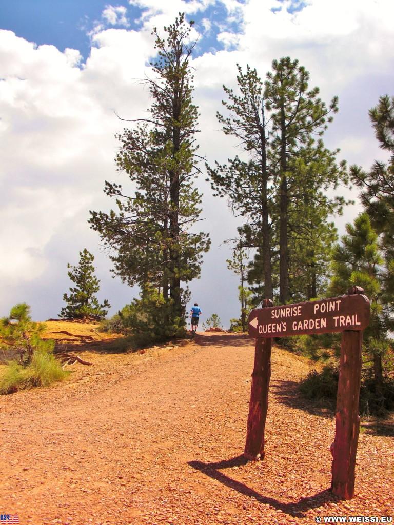 Bryce Canyon National Park. Sunrise Point - Bryce Canyon National Park. - Schild, Landschaft, Tafel, Ankünder, Sandstein, Sandsteinformationen, Bryce Canyon National Park, Sunrise Point - (Bryce Canyon, Utah, Vereinigte Staaten)