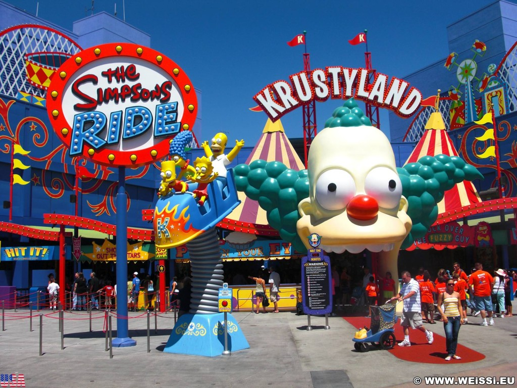 Universal Studios Hollywood. Krustyland - Universal Studios Hollywood. - Schild, Werbeschrift, Tafel, Schriftzug, Los Angeles, Universal Studios Hollywood, Krustyland, The Simpsons, Ride - (Universal City, California, Vereinigte Staaten)