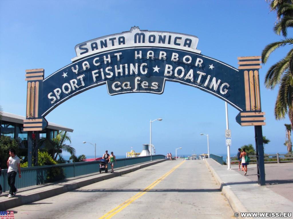 Santa Monica. Santa Monica Pier. - Schild, Tafel, Santa Monica, Santa Monica Pier, Pier - (Santa Monica, California, Vereinigte Staaten)