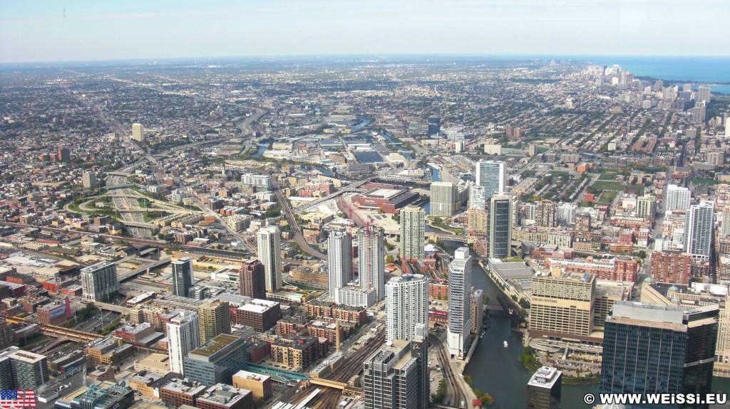 Willis Tower. Ausblick vom Willis Tower. - Skyline, Duncans Addition, Willis Tower - (Duncans Addition, Chicago, Illinois, Vereinigte Staaten)