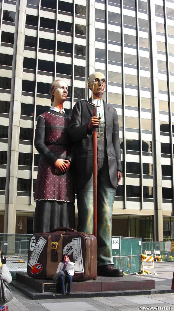 Figuren. am Jean Baptiste Point Du Sable Homesite Platz.. - Cityfront Center, Dr. B.H. McKeeby, Nan Wood Graham, American Gothic - (Cityfront Center, Chicago, Illinois, Vereinigte Staaten)