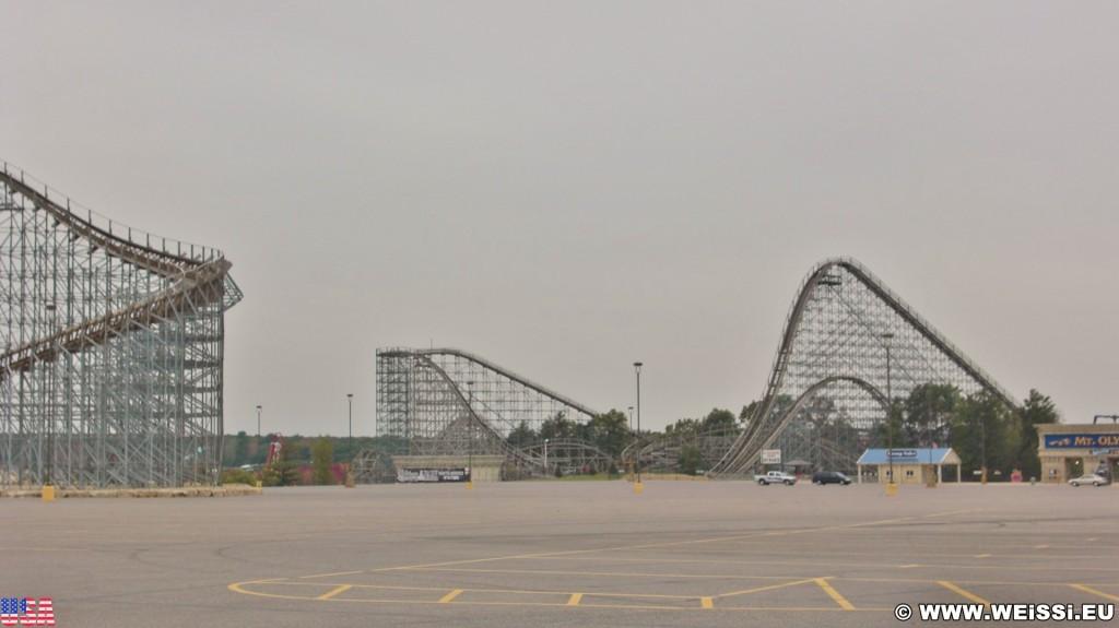 Vergnügungsparks. Mt. Olympus Water & Theme Park. - Hochschaubahn, Achterbahn, Roller coaster, Wisconsin, Wisconsin Dells, Vergnügungspark - (Wisconsin Dells, Wisconsin, Vereinigte Staaten)