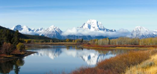 Grand-Teton-Nationalpark. Blick auf die Gebirgskette der Tetons. - Landschaft, Panorama, Berg, Bergkette, Mount Moran, Grand Teton, Grand-Teton-Nationalpark, Nationalpark, Gebirge, Gebirgskette, Oxbow Bend, Reflektion, Snake River - (Moran, Moose, Wyoming, Vereinigte Staaten)
